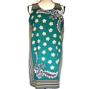 Zara Trafaluc Green Floral Tunisie Tunic Dress L